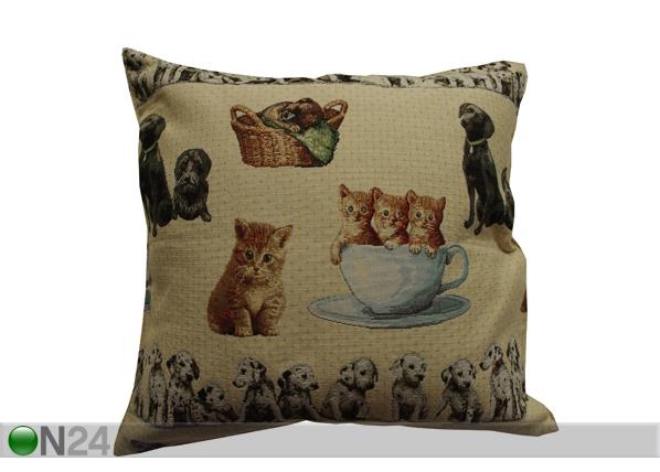 Gobeläänkangast dekoratiivpadi Kassid ja koerad 50x50 cm TG-38624