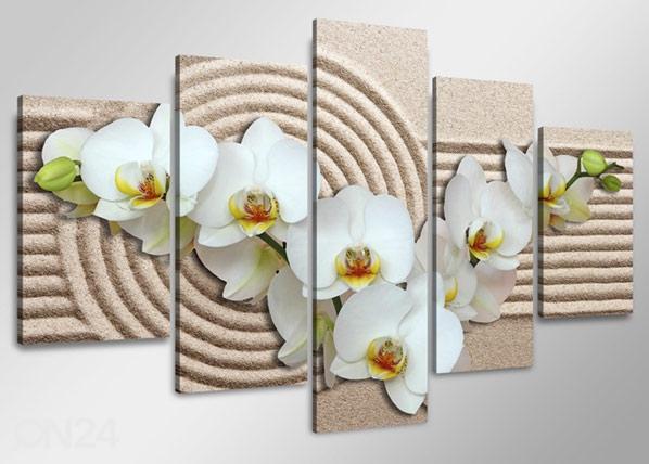Viieosaline seinapilt Valge orhidee liival ED-65590