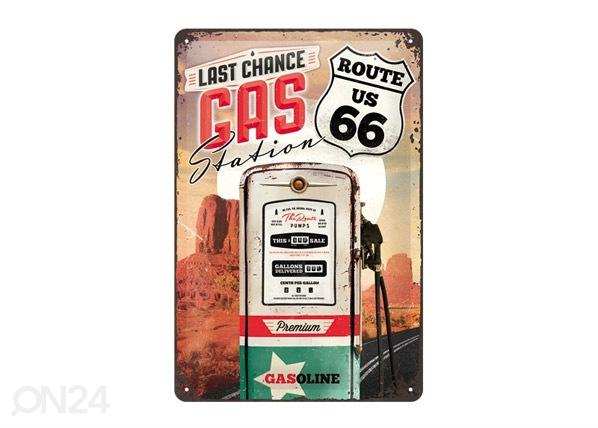Retro metallposter Route 66 Last Chance Gas Station 20x30cm SG-68156