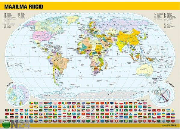 Regio Maailma poliitiline kaart lippudega RW-71934