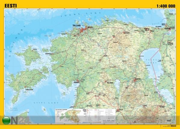 Regio Eesti üldgeograafiline seinakaart 99x70 cm RW-77020