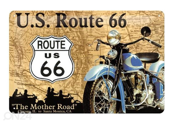 Retro metallposter Route 66 sinine mootorratas 20x30cm SG-78915