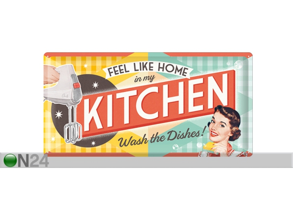 Retro metallposter Feel like home in my kitchen... 25x50cm SG-82047