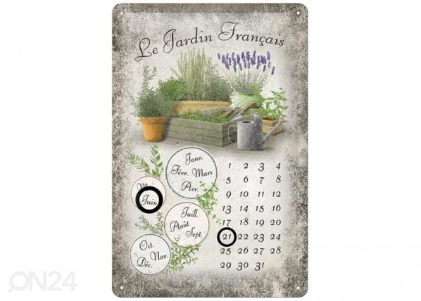Retro metallkalender Le Jardin Francais 20x30cm SG-82351