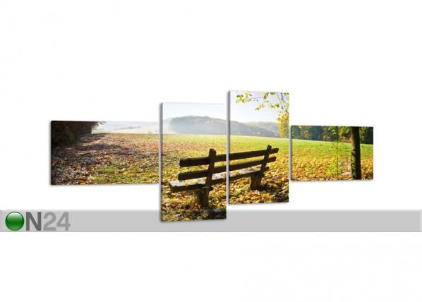 Neljaosaline seinapilt Park bench in autumn 100x40 cm ED-86686