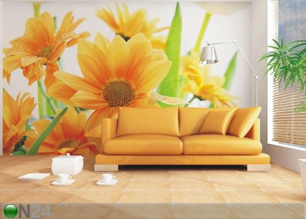 Fliis-fototapeet Orange flowers 360x270 cm ED-90662