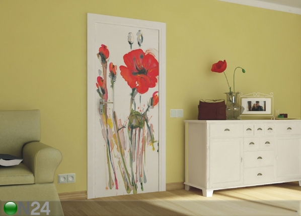 Fliis-fototapeet Watercolor poppies 90x202 cm ED-91121