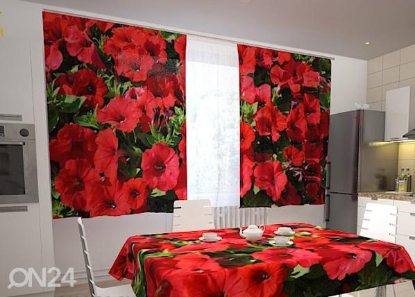 Läbipaistev kardin Red petunias 200x120 cm ED-98331