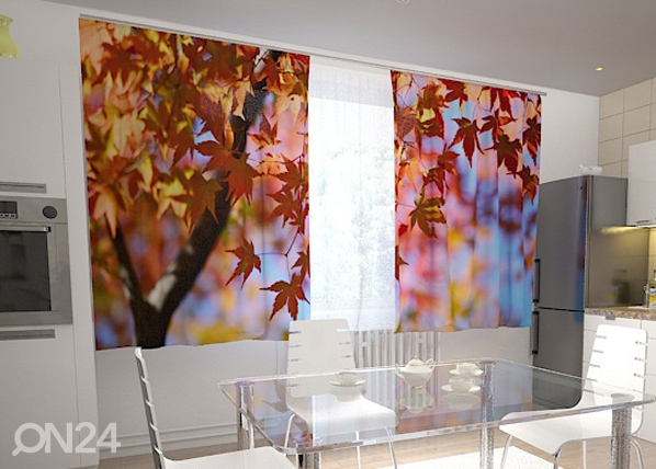 Läbipaistev kardin Maple leaves in the kitchen 200x120 cm ED-98421