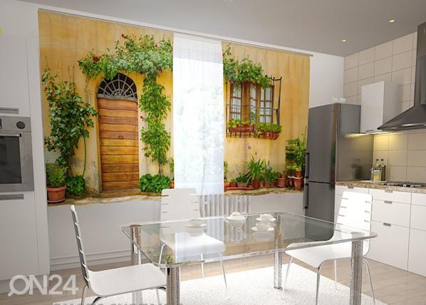 Pimendav kardin The front in flowers for the kitchen 200x120 cm ED-98450