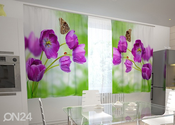 Poolpimendav kardin Lilac tulips in the kitchen 200x120 cm ED-98578