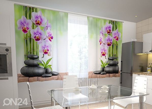 Läbipaistev kardin Orchids and stones in the kitchen 200x120 cm ED-98594