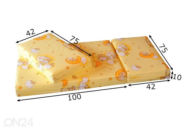 Pikendatav madrats Teddy Bear kollane 75x100+42+42 cm HA-99441